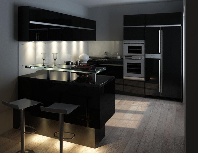В черном цвете дизайн кухни