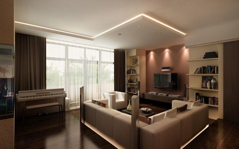 Дизайн интерьера гостиной в коричневом цвете со светло-корич.