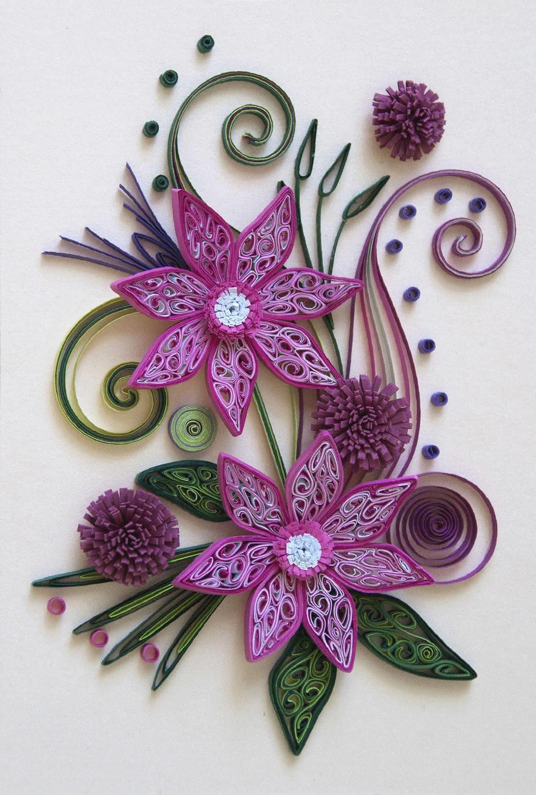 Английском, цветы в технике квиллинг для открытки