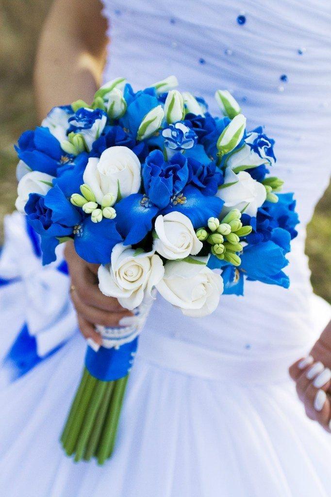 Невесты, букет невесты сине белый голубой
