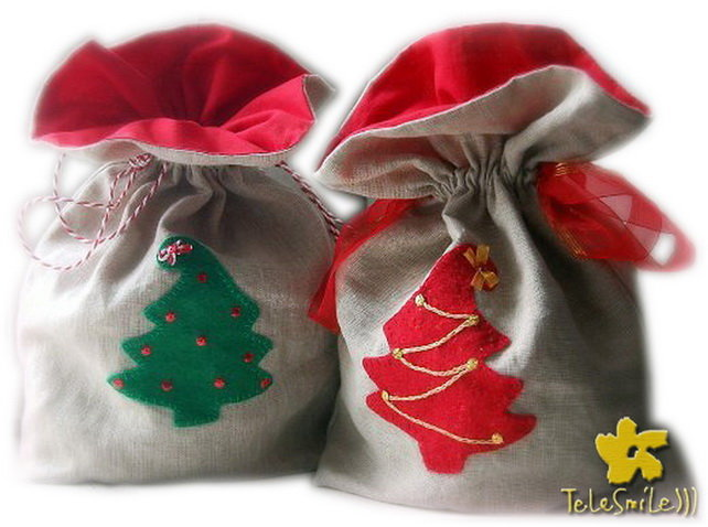 Купить новогодние мешочки для подарков оптом и в розницу
