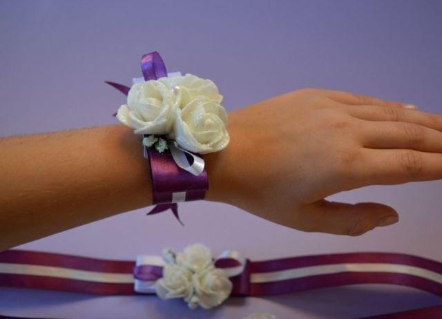 браслет на свадьбу из цветов атласных своими руками при