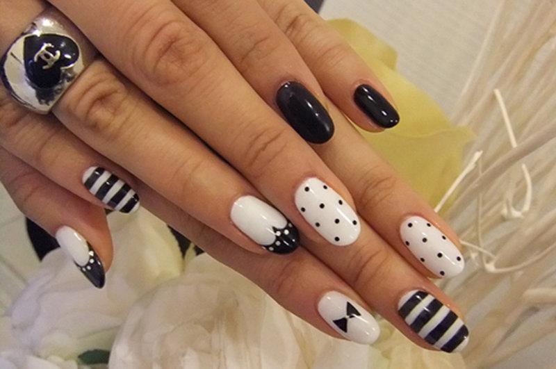 дизайн черно-белый фото ногтей