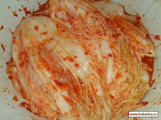 салат кимчи из белокочанной капусты