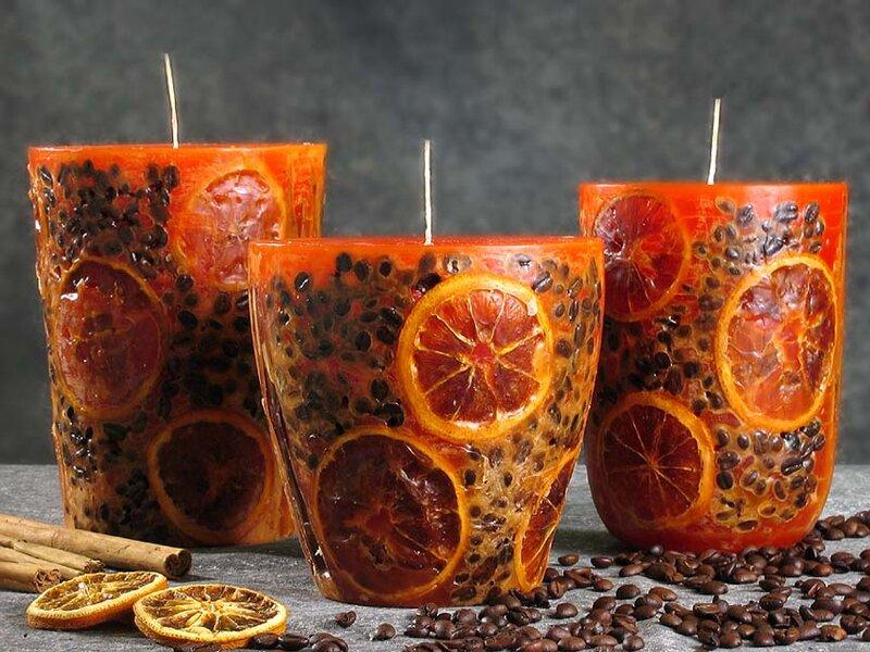 Свечи домашние своими руками из кофейных  зерен и апельсинов