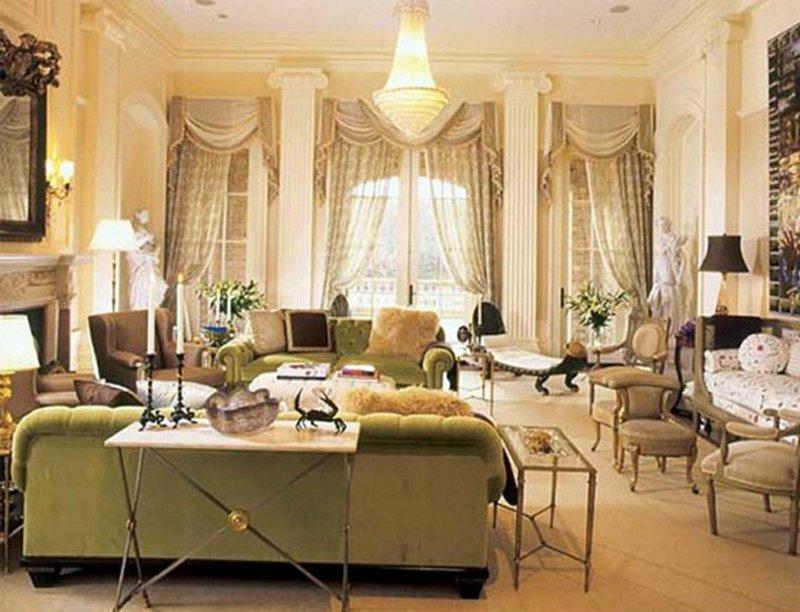 Дизайн интерьера гостиной в викторианском стиле.
