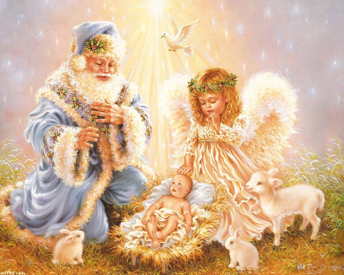 Рождественские открытки ангелами, обои рабочий