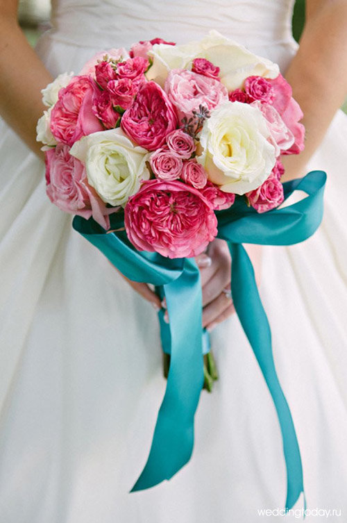 Свадебный букет с бирюзовым цветом фото, доставка