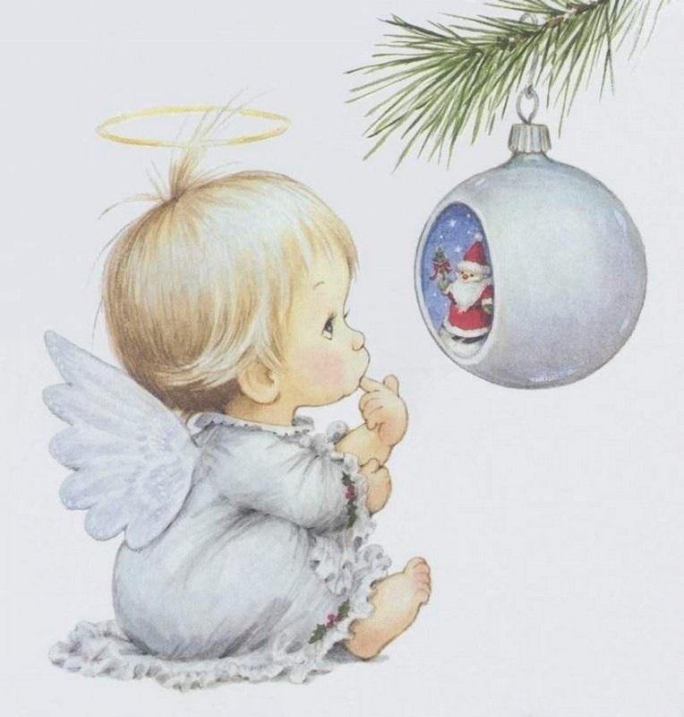 Новогодняя открытка ангелы, цветы зонтике открытка