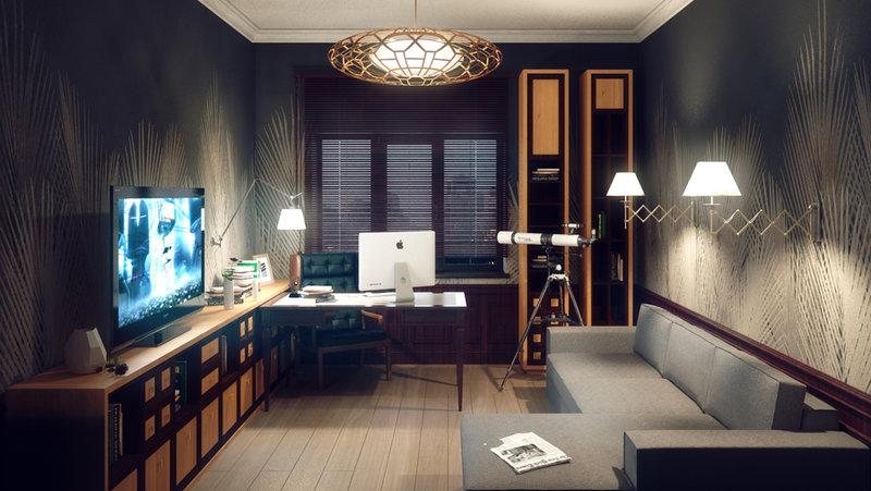 Большой кабинет с зоной отдыха: фото