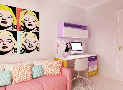 Комбинированная покраска стен в два и более цвета 10