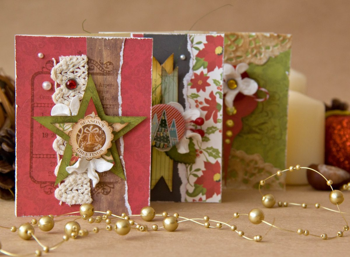 Скрапбукинг разные формы открыток, бабушке
