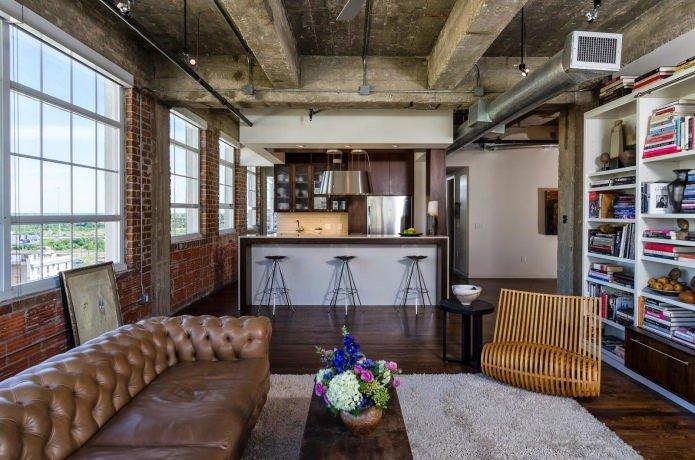 Гостиная в стиле лофт загородного дома