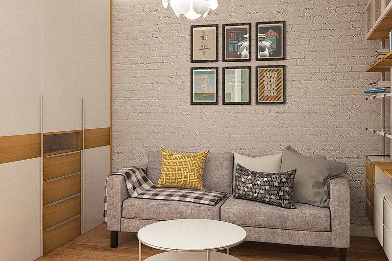 Интерьер квартиры 46,5 кв. м. выдержан современном стиле. В отделке использованы натуральные материалы - дерево, в котором сохранена его натуральная фактура, кладка из кирпича, выкрашенная в белый цвет.