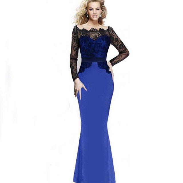 168287d3461 ... Купить товар Aliexpress модели взрыва кружева шить с длинными рукавами  платье Тонкий рыбий хвост платье