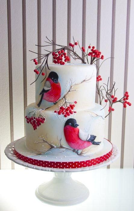 Новогодний сахарный торт Снегири