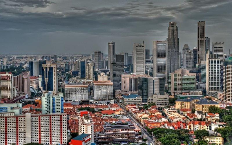 Здания, вид сверху, городской пейзаж