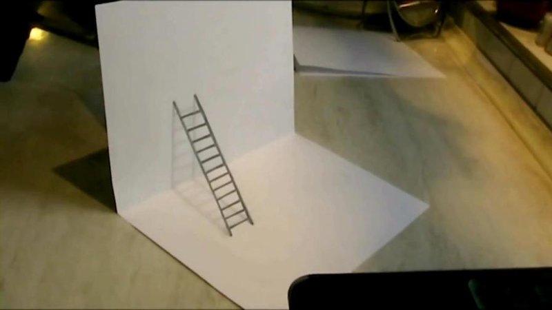 3D рисунок лесницы на бумаге