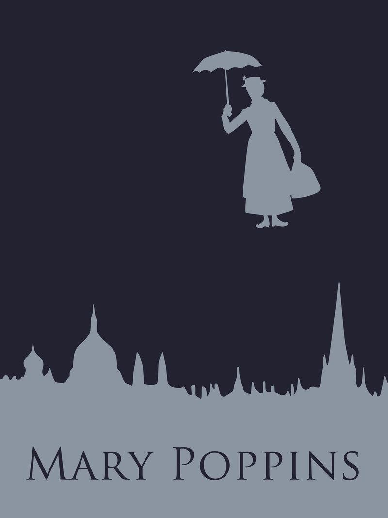 Минималистичный постер Мерри Поппинс