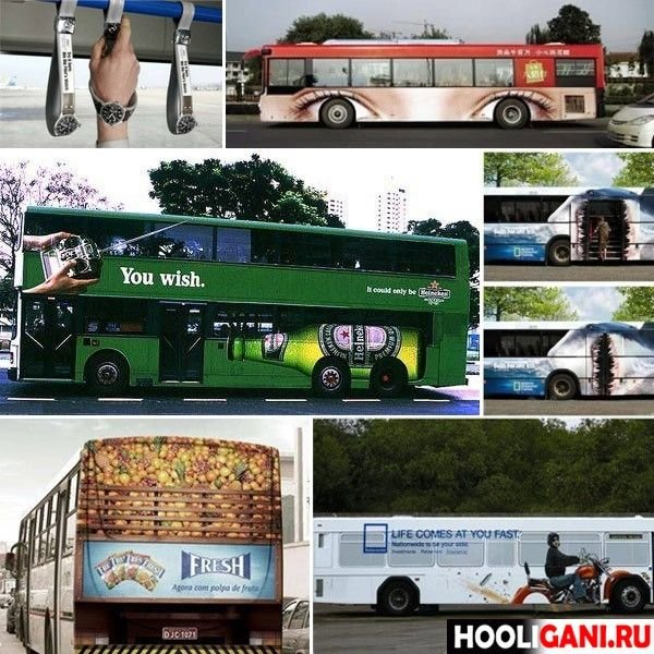 Рекламная иллюстрация на автобусах