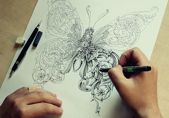 Рисунки тушью и ручкой. Алексей Конахин