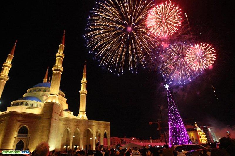 Новогодние салюты в Бейрут