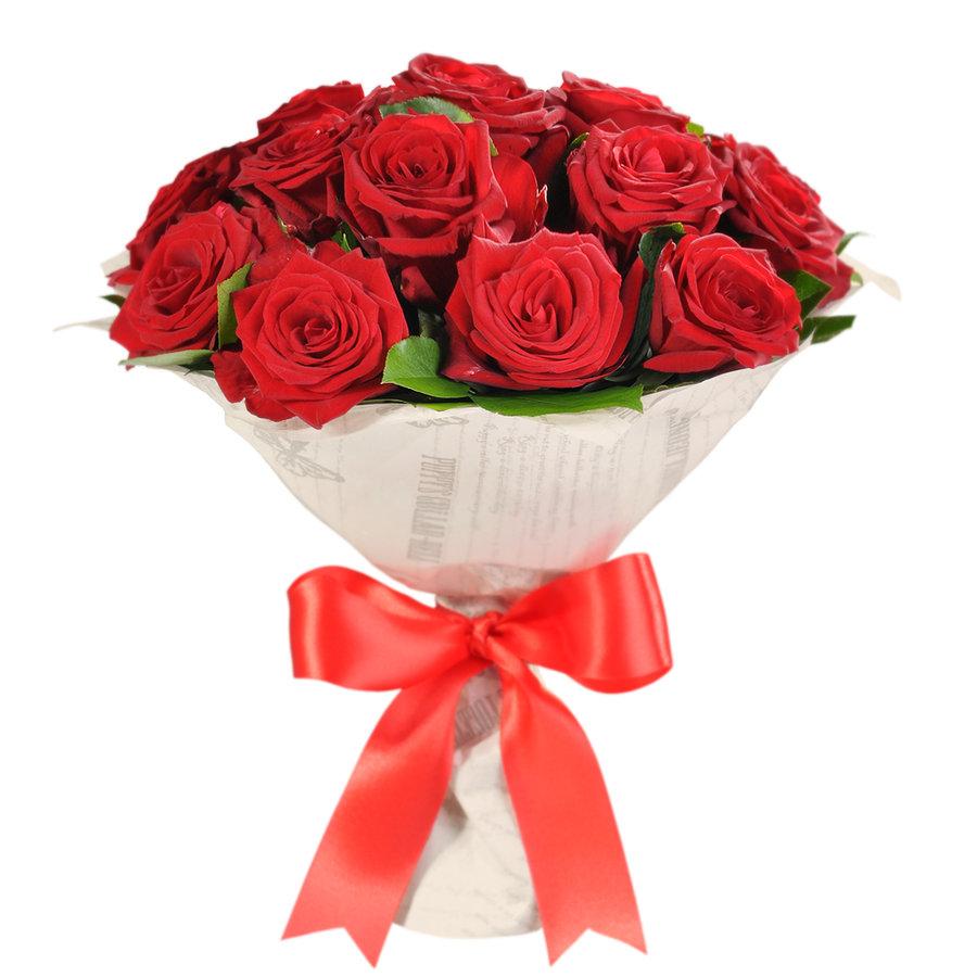 Букет роз из 17 розовых, гвоздики купить
