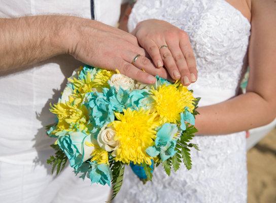 Свадебный букет бирюзовый с желтым