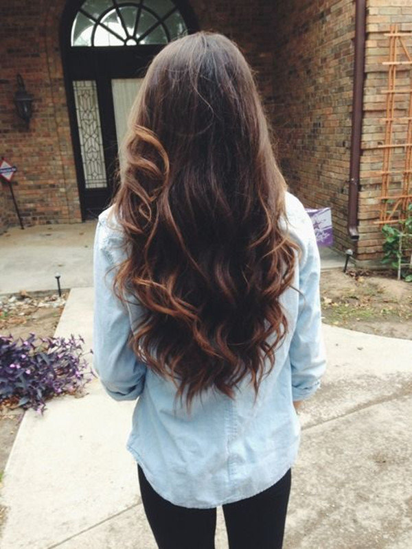 brown ombre hair color for dark hair with bright highlight balayage