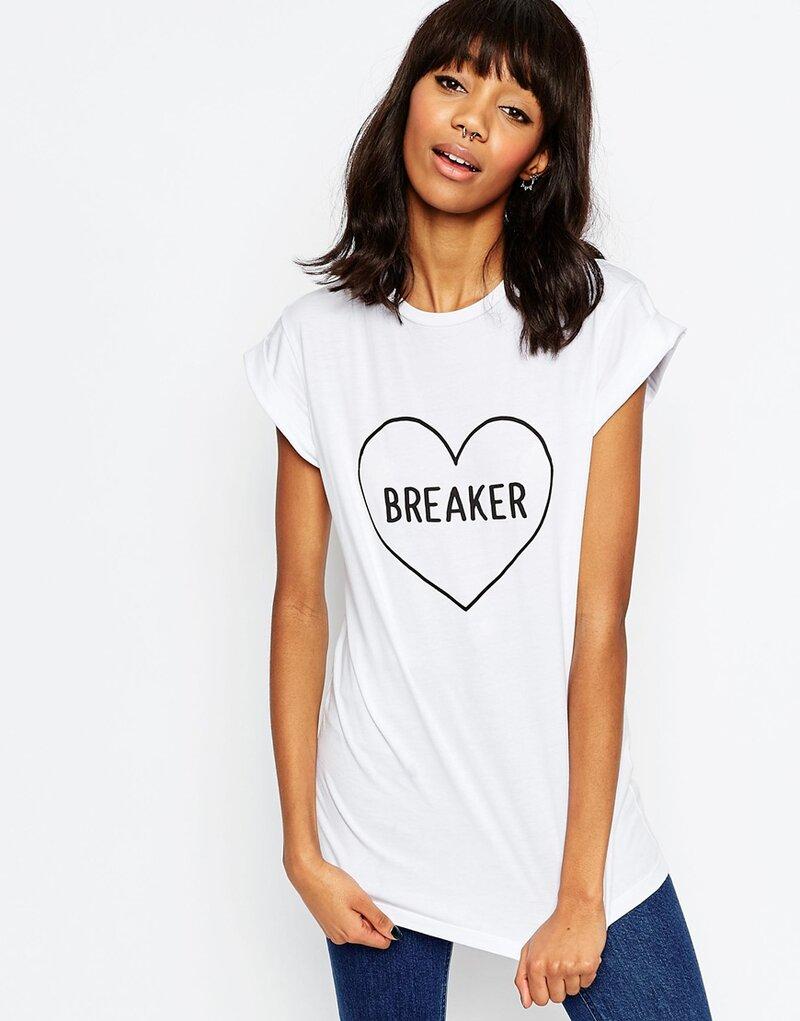 Изображение 3 из Белая футболка с надписью ASOS Heart Breaker