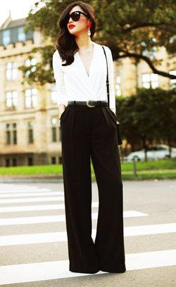 Как носить широкие брюки?