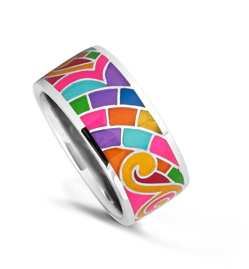 Кольцо с эмалью из серебра 925 пробы по цене 2890 руб. Купить в магазинах Valtera, артикул 74226, , Эмаль,   – интернет-магазин VALTERA
