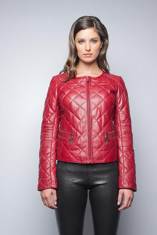 Кожаная куртка John & Yoko, цвет красный, артикул G12112922596