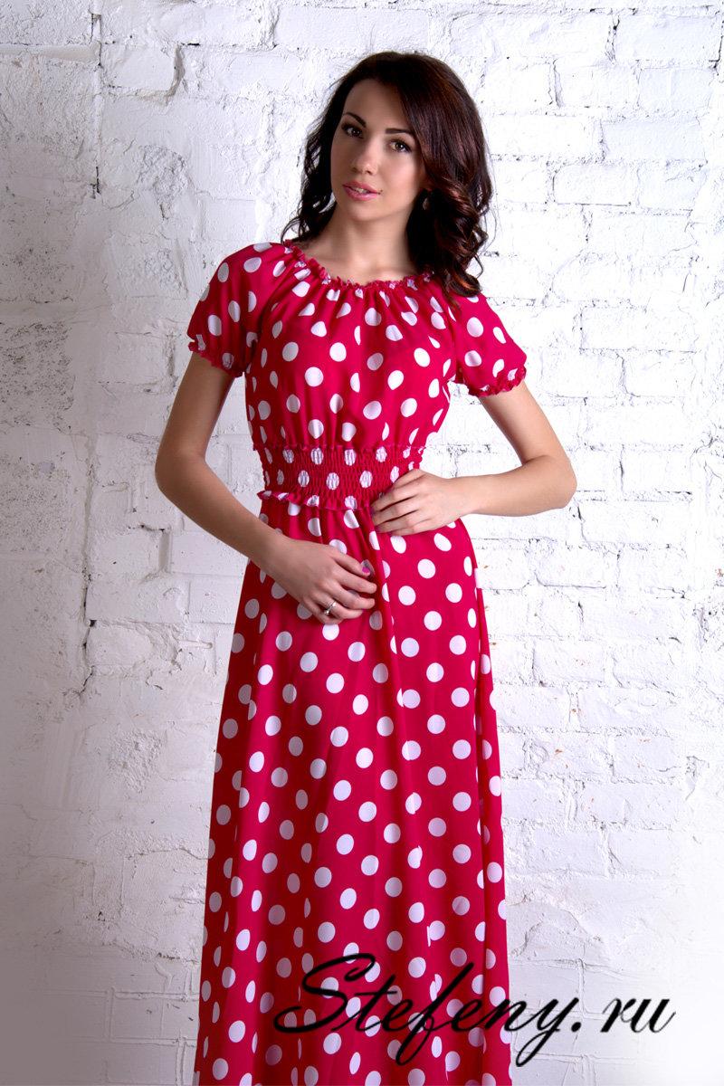 Красное платье в горошек MM01026PK