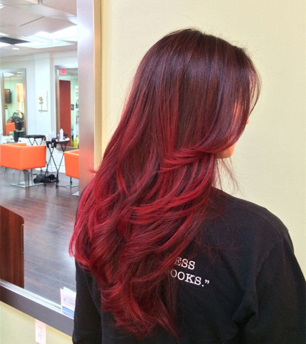 Long Red Ombre Hairstyle For Black Hair Fashion Hair Color Of 2015