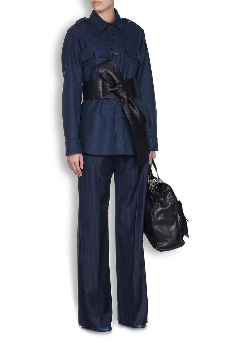 MAISON MARGIELA - Рубашка из меланжевой шерсти с добавлением кашемира темно-синего оттенка в Интернет-магазине NAME'S