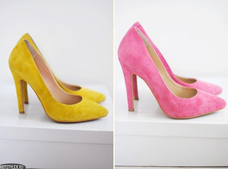 Замшевые жёлтые и розовые туфли-лодочки