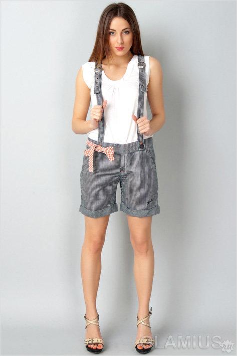 Полосатые шорты с подтяжками