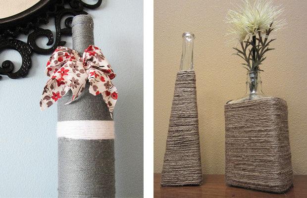 Самодельная ваза для цветов из бутылки и льняной нити