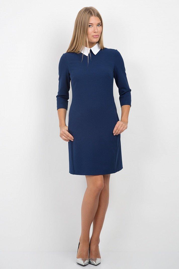 Синее платье с белым воротничком Emka Fashion PL-440/velmira - Malinka-fashion.ru