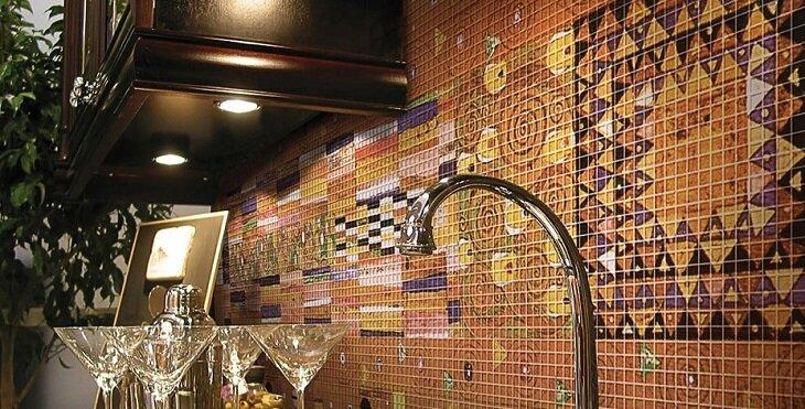 СТЕКЛЯННАЯ МОЗАИКА на Фартук кухни, в Ванную.