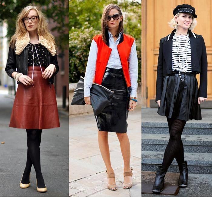 Стильные кожаные юбки