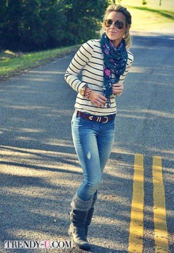Тельняшка, джинсы, шарф