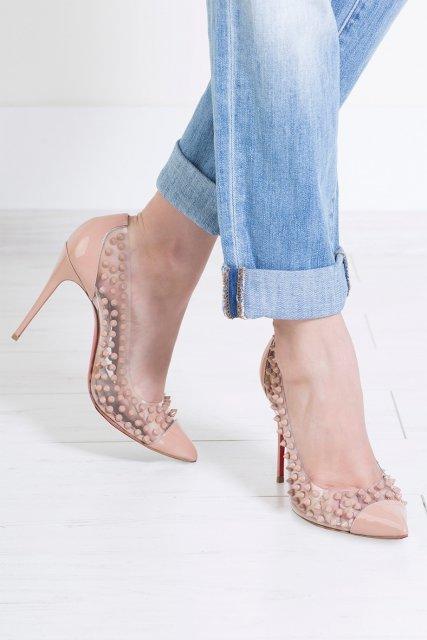 Туфли из лакированной кожи Spike Me 100 Christian Louboutin - Лодочки оттенка nude всегда были классическим выбором для элегантного образа в интернет-магазине модной дизайнерской и брендовой одежды