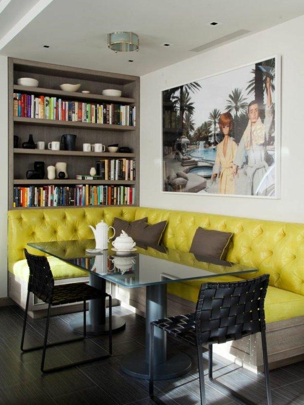 угловой диван для кухни фото желтый кожаный