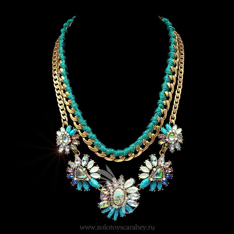 В каталоге Колье из коллекции Золотой скарабей 2016 с вставками из натуральных камней голубое — цена