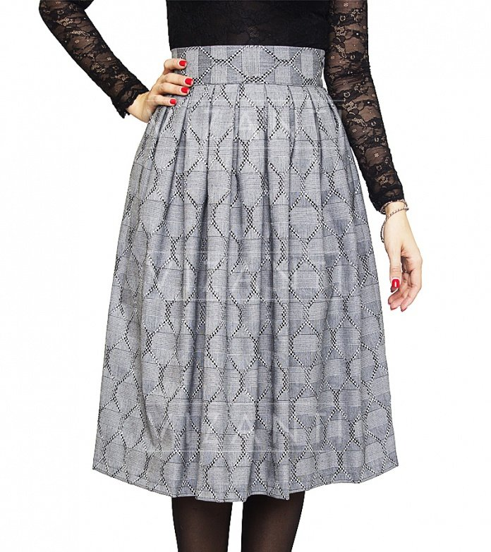 Женская юбка Рината-С серый ромб это возможность недорого купить модную и стильную юбку в Москве оптом