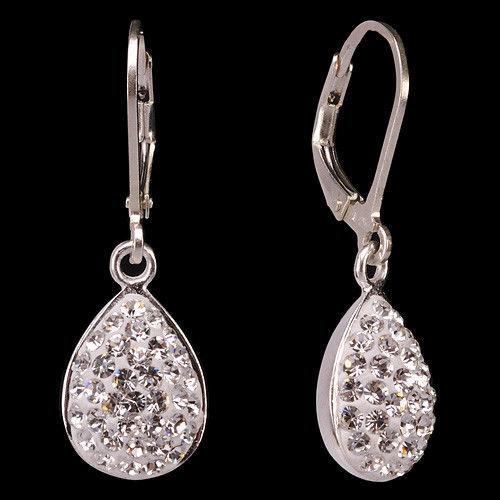 Женские серьги бело-синие капельки из серебра с кристаллами - купить оптом и в розницу в интернет магазине BLESK39.RU