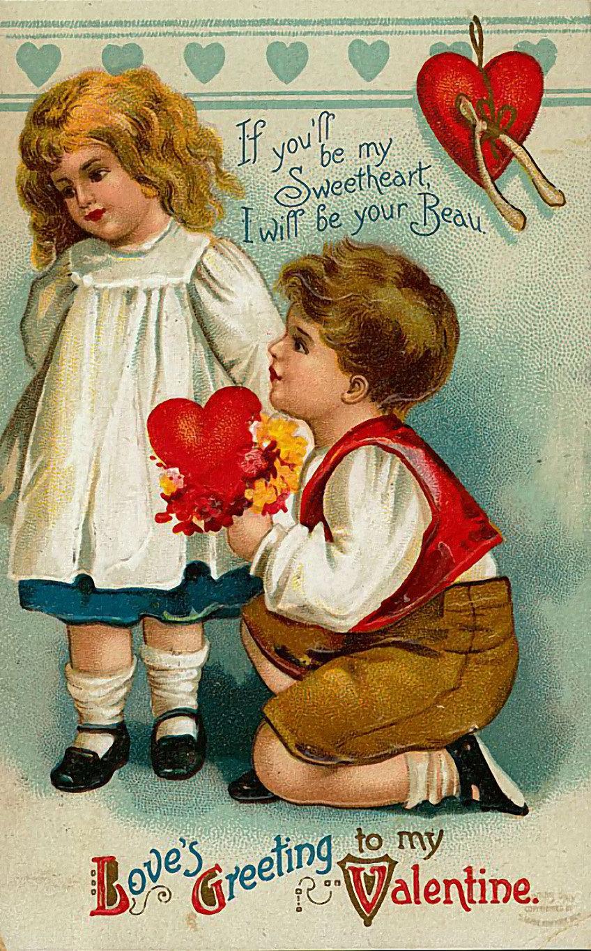 Подписать открытку, винтажные открытки день влюбленных