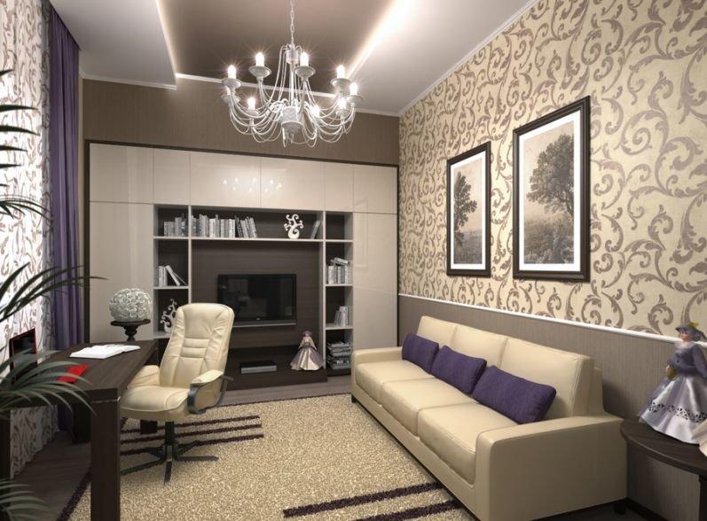 Интерьер для домашнего кабинета дополняет огромная люстра дневного освещения